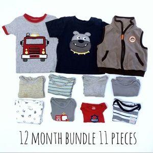 Baby Boy's 12 Month Lot 11 Pieces Bodysuit, Shirts